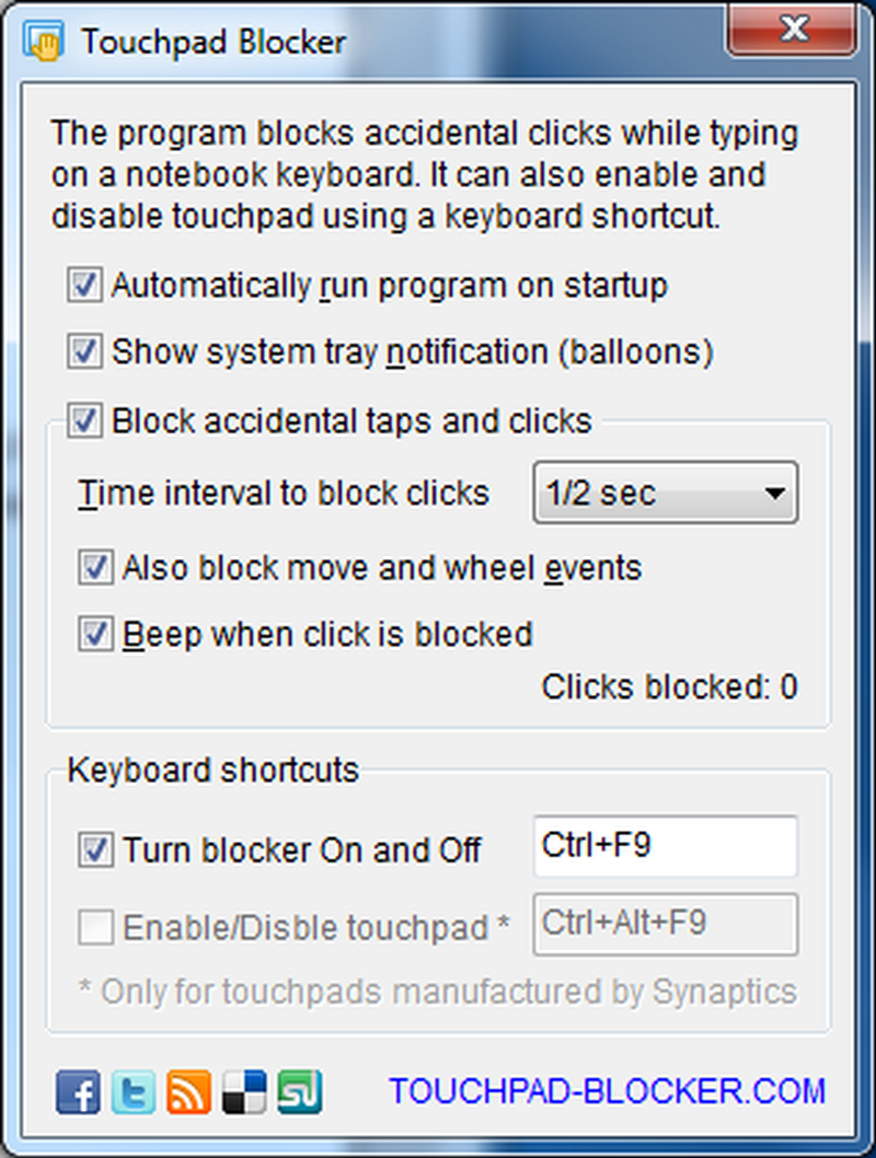 Phần mềm Touchpad Blocker