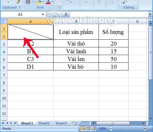 Tạo đường kẻ trong ô Excel