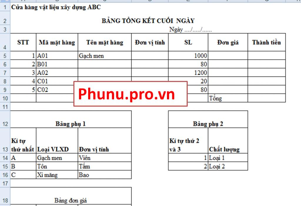 Bài Tập Excel Cơ Bản