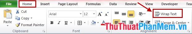 Cách xuống dòng trong một ô Excel 2