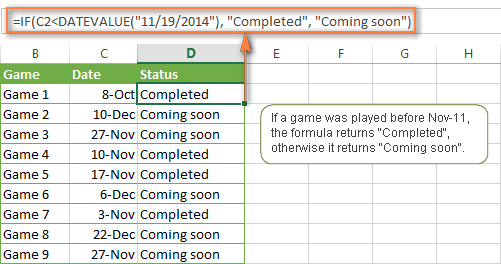 An example of the IF formula with the DATEVALUE function
