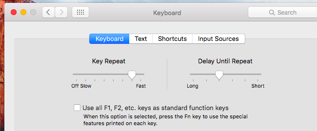 "chọn ""Use all F1, F2, etc. Keys as standard function keys""."