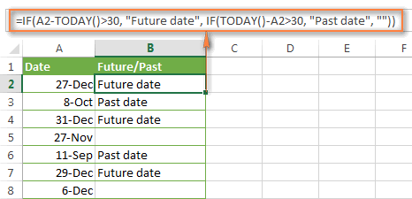 A nested IF formula for dates