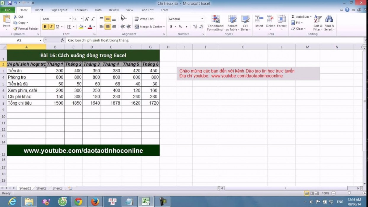 Xuống Dòng Trong Excel 2007