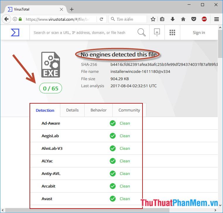 Kết quả Virustotal đã quét trên file của bạn