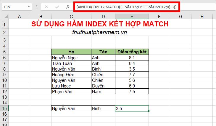 Sử dụng hàm Index và hàm Match để dò tìm nhiều điều kiện