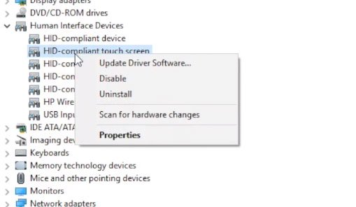 Chọn Disable menu HID compliant touch screen