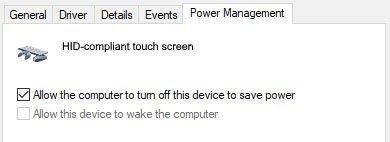 Menu Power Management