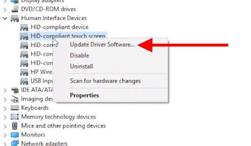 Menu Update Driver Software