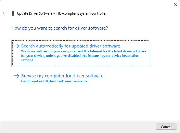 Tùy chọn Search automatically for updated driver software