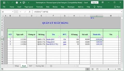 phần mềm bán hàng bằng Excel